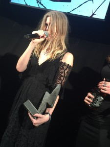 """Myrkur vinder """"årets band"""". HV Awards 2016. Foto: Weiss"""